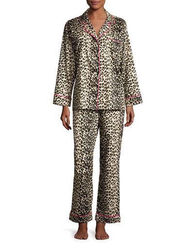 Leopard-Print Sateen Pajamas, Plus Size