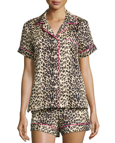 Wild Thing Printed Shorty Pajama Set, Leopard, Plus Size