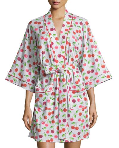 Sweet Cherry Printed Kimono Short Robe