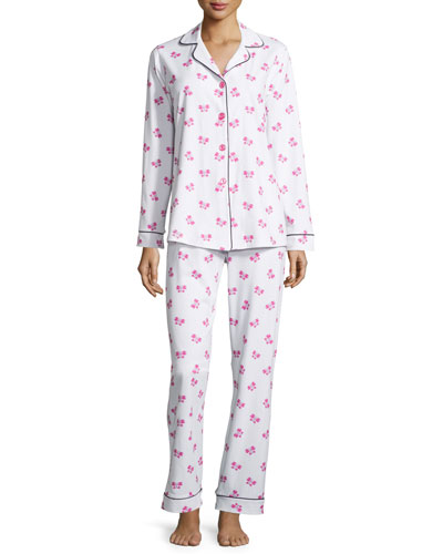 Butterfly-Print Classic Pajama Set, Plus Size