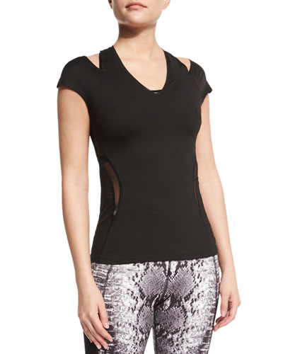 Raven Short-Sleeve Cutout Sport Top, Black
