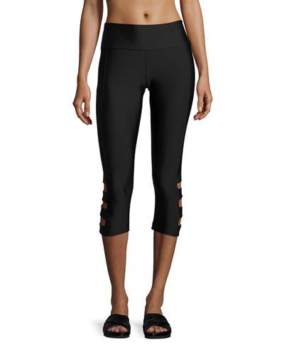 Cutout-Side Capri Pants, Heathered Denim