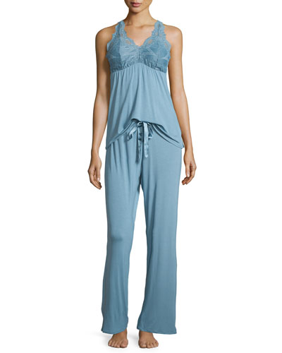 Belle Epoque Lace-Inset Pajama Set, Adriatic Blue