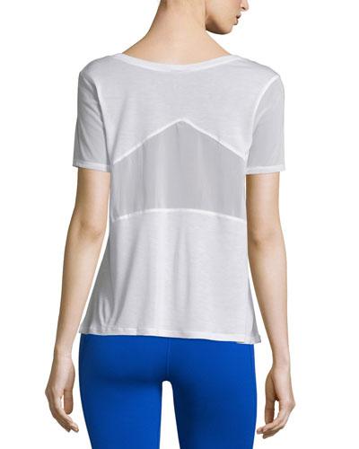 Luxx Mesh-Inset Short-Sleeve Sport Top