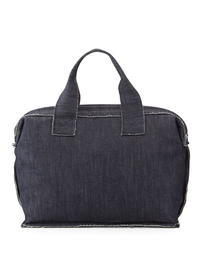 Small Denim Carpet Bag, Indigo