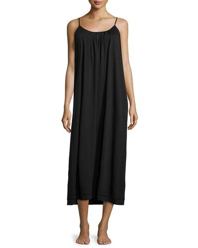 Side-Pocket Long Jersey Gown, Black