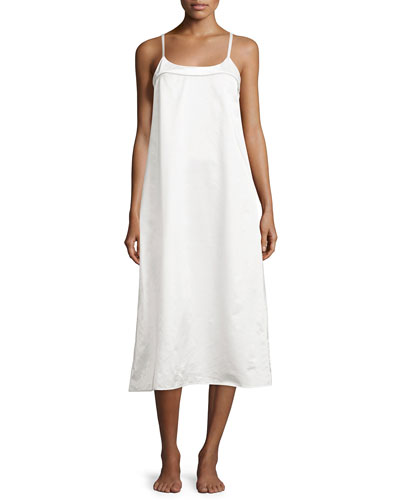 Perla Sleeveless Long Nightgown, White/Fawn