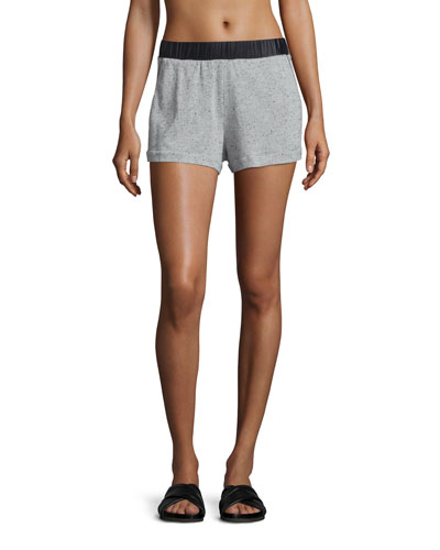 Tap Speckled-Print Shorts, Heather Gray/Black