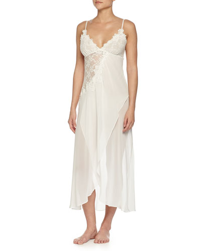 Embroidered Mesh-Lace Long Gown, Ivory