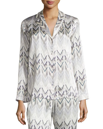 Chevron Long-Sleeve Satin Pajama Top