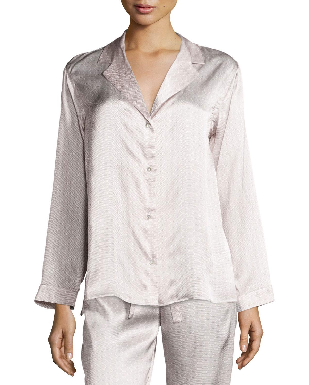 Rose Tile Printed Pajama Top, Rose