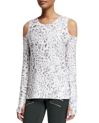 Grant Leopard-Print Cold-Shoulder Sport Sweater