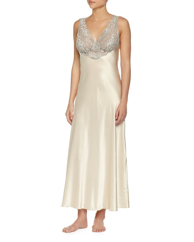 Lace-Front Silk Long Gown, Buttercream
