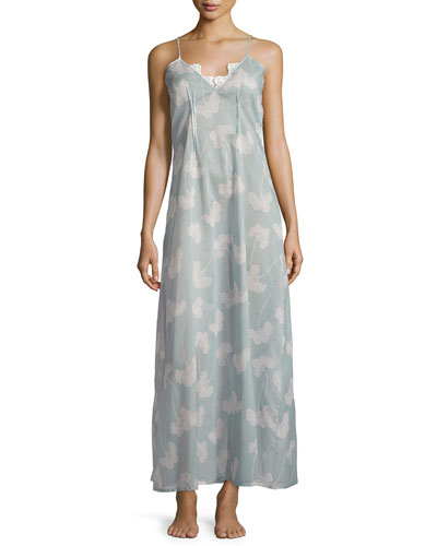 Isadora Printed Long Gown, Light Blue