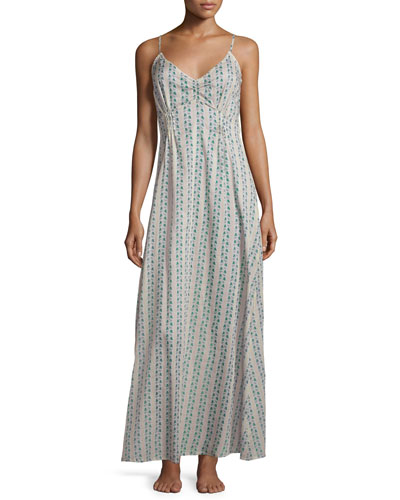 Clio Printed Long Gown, Teal