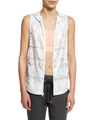 Printed Hooded Vest W/Mesh Panels