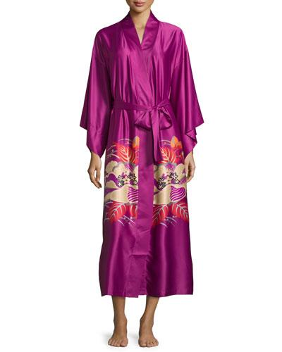 Imperial Floral-Print Wrap Robe, Purple Haze