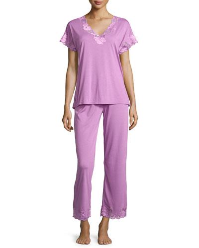 Zen Floral-Lace Short-Sleeve Pajama Set, Violet