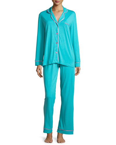 Bella Contrast-Trim Long-Sleeve Pajama Set, Blue/Pink
