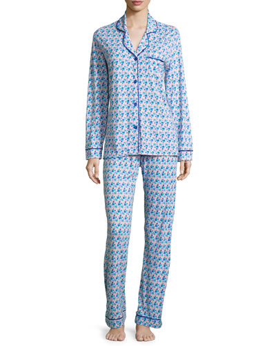 Bella Printed Long-Sleeve Pajama Set, Purple/Blue