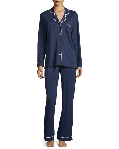 Bella Long-Sleeve Pajama Set W/Piping, Navy/Ivory