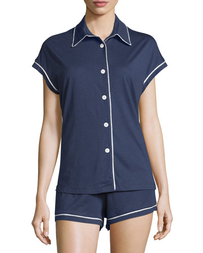 Bella Short-Sleeve Boxer Pajama Set, Navy/Ivory