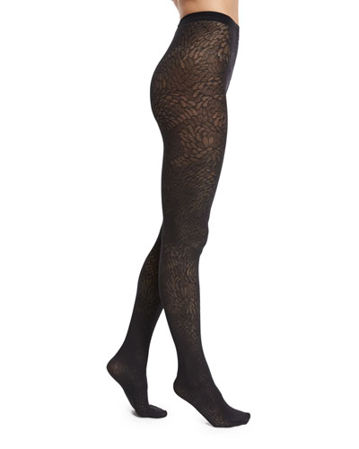 Zoi Semisheer Patterned Tights, Black