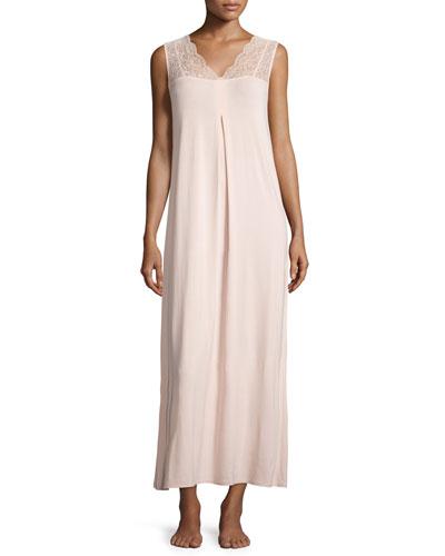 Noelia Lace-Front Long Gown, Bellini