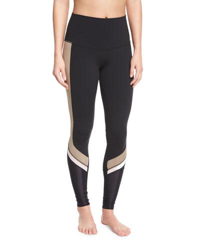 Elevate Contrast-Panel Sport Leggings, Black/Gravel/White