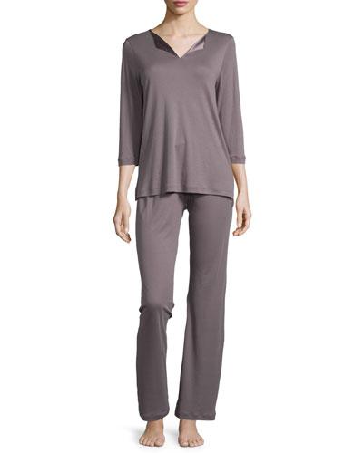 Adriana Silk-Satin Inset Pajamas, Warm Gray