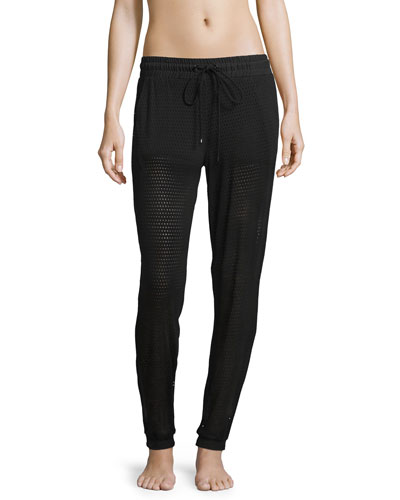 Double-Layer Mesh Athletic Sweatpants, Black
