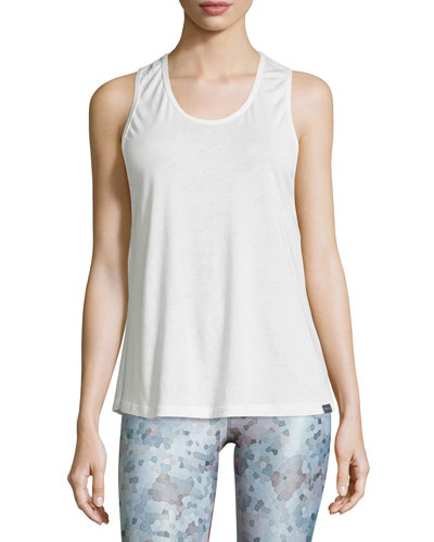 Strappy-Back Mesh Sport Tank, White
