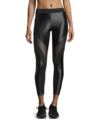 Frame Mesh-Panel Sport Leggings, Black/Black
