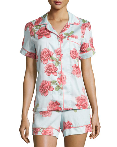 Rose-Print Shorty Pajama Set, Light Blue, Plus Size