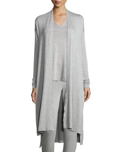 Terry Lounge Long Cardigan, Light Heather Gray