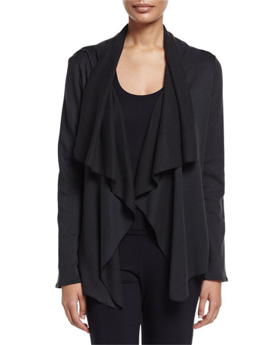 Cashmere-Blend Open-Front Cardigan, Phantom