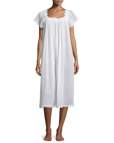 Jessy Long Cotton Gown, White