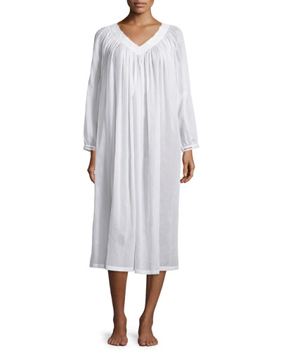 Jessy Long-Sleeve Long Cotton Gown, White