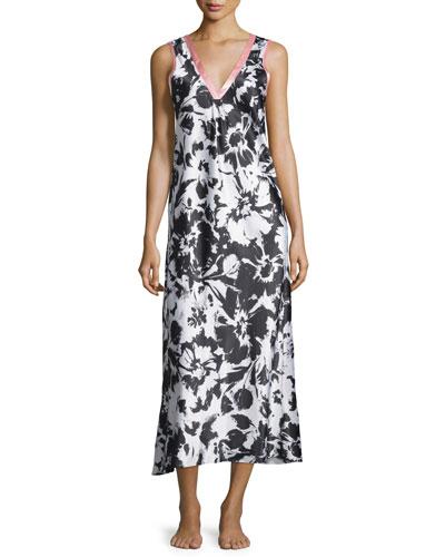 Sleeveless V-Neck Long Gown, Black/Ivory Spring