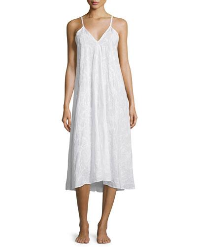 Sleeveless V-Neck Gown, White