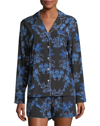 Poppy Snoozing Shorts Silk-Blend Pajama Set Hearts