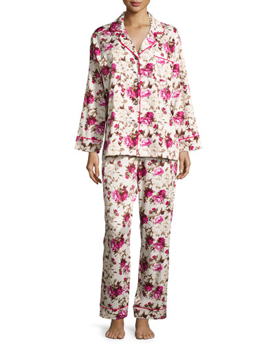 Floral-Print Sateen Pajama Set, Ashes of Roses