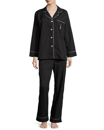 Eiffel Embroidery Pajama Set, Black