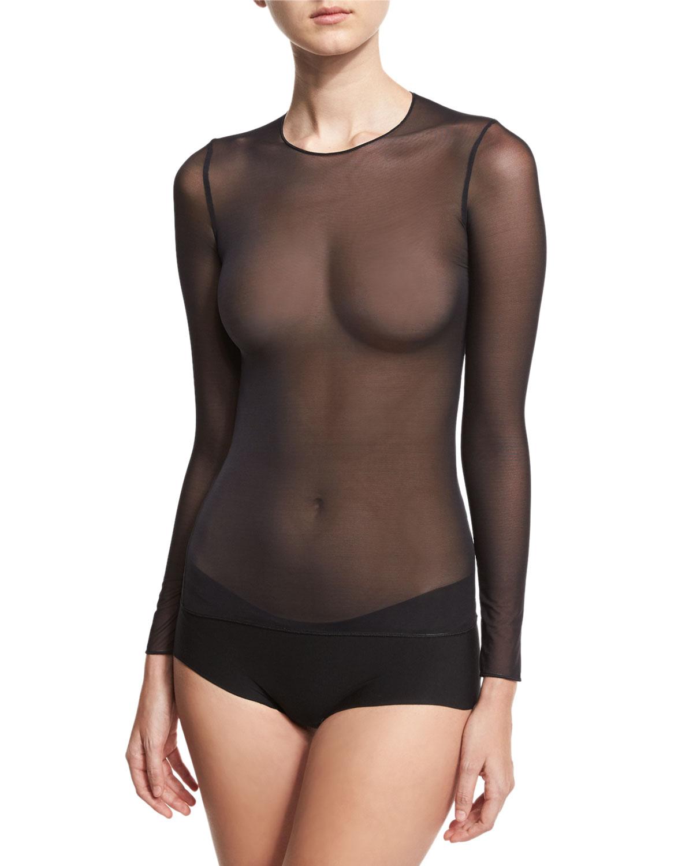 Technical Mesh Long-Sleeve Top