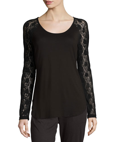 Arizona Lace-Sleeve Lounge Top, Black
