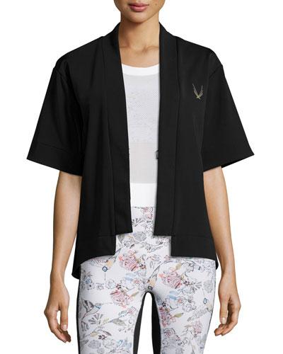 Open-Front Short-Sleeve Bolero Sport Jacket, Black