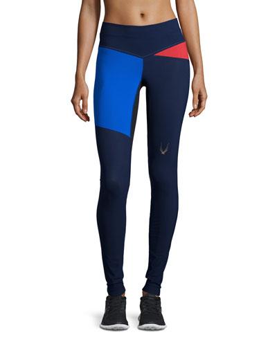 Rio Colorblock Sport Leggings, Midnight Blue