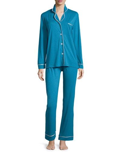 Bella Long-Sleeve Pajama Set, Ardesia Blue/Ivory