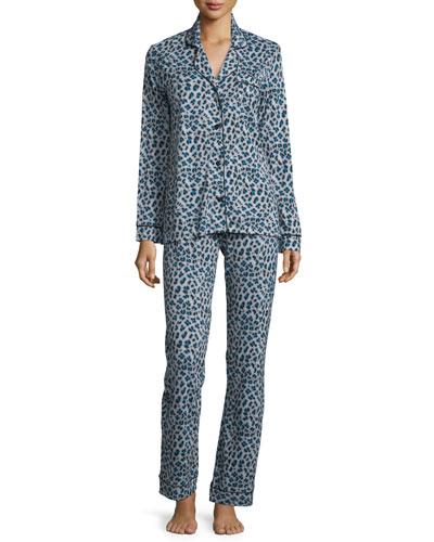 Bella Long Sleeve Print Pajama Set, Dove Grey/Black