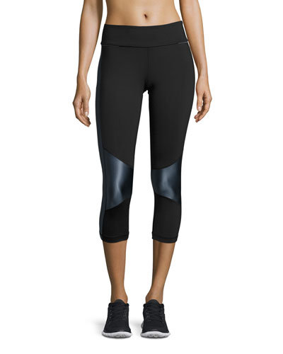 Blocked Crop Tight Leggings, Black/Liquid Indigo